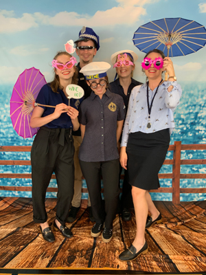 Photo Booth with beach boardwalk backdrop